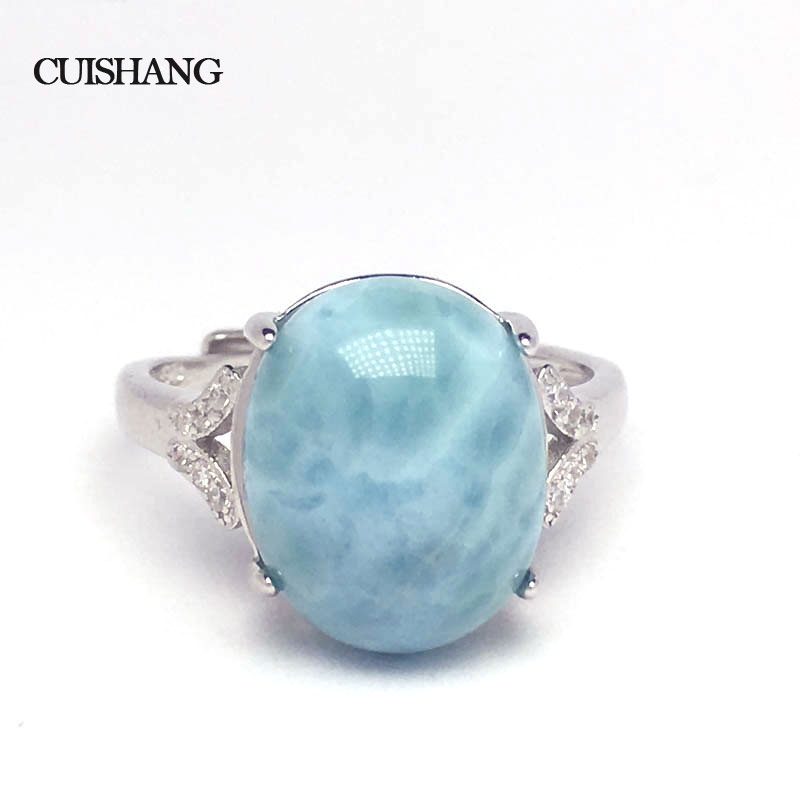 CSJ larimar Ring Big stone 9 5CT Sterling 925 Silver Fine Jewelry for Women and Lady