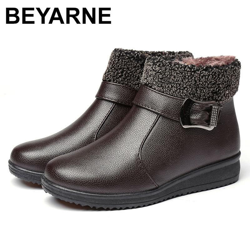 BEYARNE Winter Boots Female Zip Ankle Boots Waterproof Warm Snow Boots Ladies Leather Shoes Woman Fur Botas Mujer colts car floor mat set of 2 nfl
