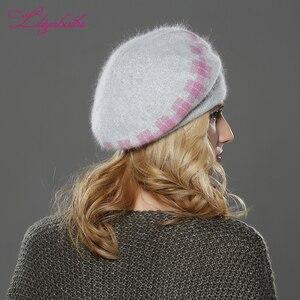 Image 2 - LILIYABAIHE w nowym stylu winteWomen beret kapelusz z dzianiny wełny angora beret klasyczna siatka z norki dekoracja kwiatowa czapka podwójna ciepła czapka