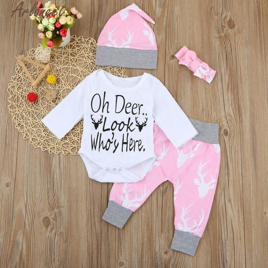 ARLONEET Baby Girl Clothes Newborn Kids Baby Girls Clothes Romper+Pants+Hat+Headband Set QF20 Dropshipping