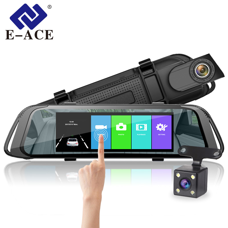 E ACE Car DVR 7 0 Inch Touch Video Recorder Mirror Camera FHD 1080P Dual Lens