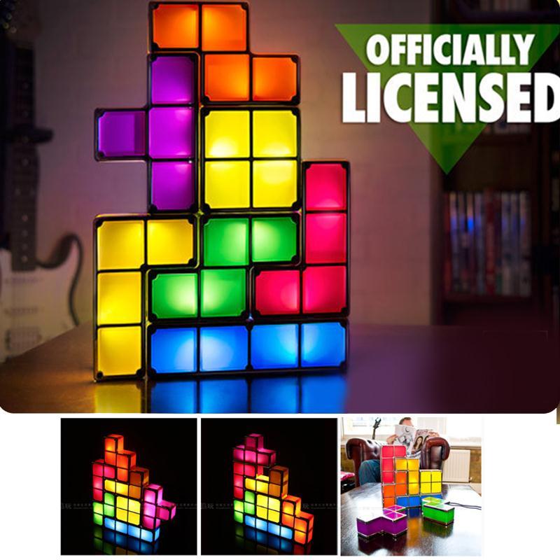 DIY Tetris Lampada Di Puzzle Luce Impilabile LED Edificabile Blocco HA CONDOTTO LA Luce Giocattolo Gioco Retro Tower Block Bambino NightLight