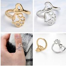 Домашнее животное кольцо регулируемые ювелирные изделия полые кошачьи следы собаки сердце кольцо девушки Мода Золотые кольца для женщин