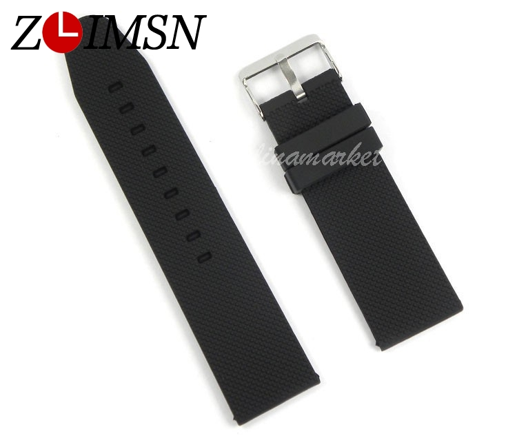 ZLIMSN 26mm (Buckle 24mm) MEN Black Waterproof Diving Silicone Rubber Watchband Bands Straps Bracelets Promotion black blue gray red 18mm 20mm 22mm waterproof silicone watchband replacement sport ourdoor with pin buckle diving rubber strap