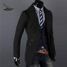 Мужчины однобортный Роскошные Широкий лацкан Зимнее Пальто Куртка Пальто Куртка 2 Цвета 4 Размеры 31