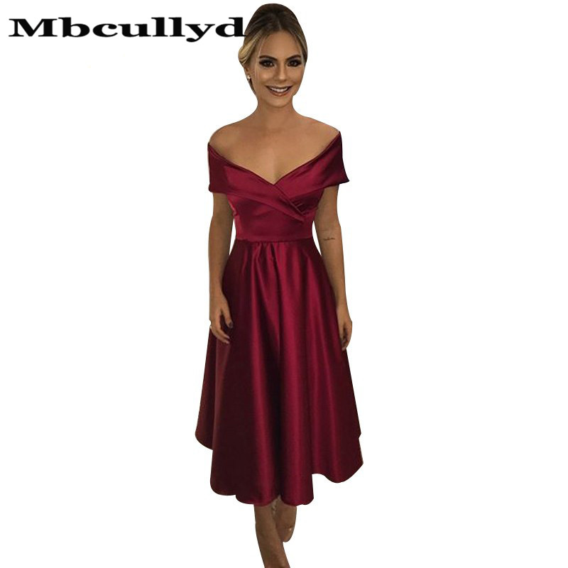 Mbcullyd Sexy Off Shoulder Bridesmaid Dresses 2020 Short Ankle Lenght Formal Dress For Wedding Guest Party Dress Cheap