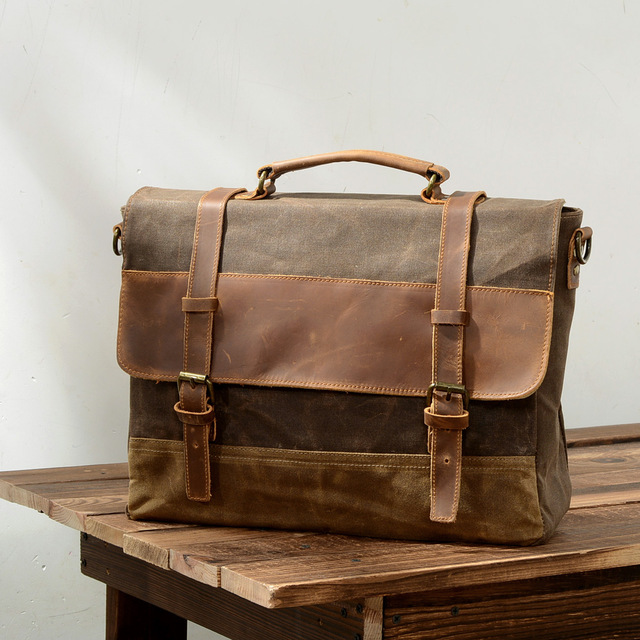 Men Vintage Waxed Canvas Messenger Bag Crazy Horse Leather Soft Man Travel Bags Retro School