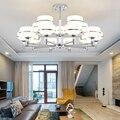 Современный  хромированный  металлический Led люстры освещение акриловый оттенок гостиной Led подвесные люстры освещение спальни Led подвесно...
