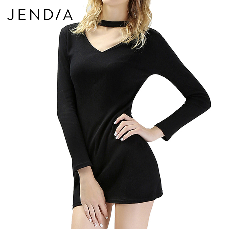JENDIA Women Sexy Tight Elastic Sheath Knitted Short Dress Elegant Long Sleeve Party Bodycon Pencil Dresses vestidos Hot Sale long sleeve lace pencil sheath dress