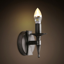American Village Industry Retro Stairs Bedroom Wall Lamp Iron Corridor Black Wall Light Free Shipping
