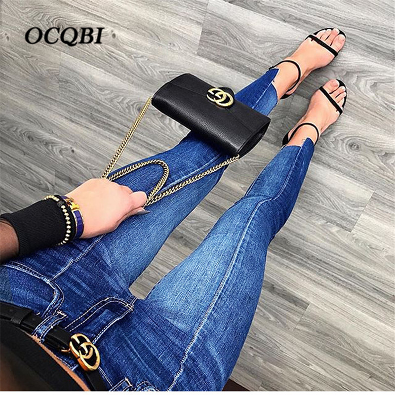 2018 Plus Size Vintage Casual Jeans Woman Fashion Elasticity Boyfriend High Waist Blue Jeans