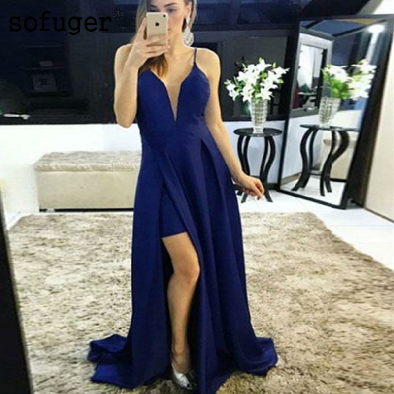 Royal Blue Sexy Slit  V Neck Pleat Long Special Occasion Bridesmaid Dresses Formal Vestidos Dama De Honor Wedding Party Dresses