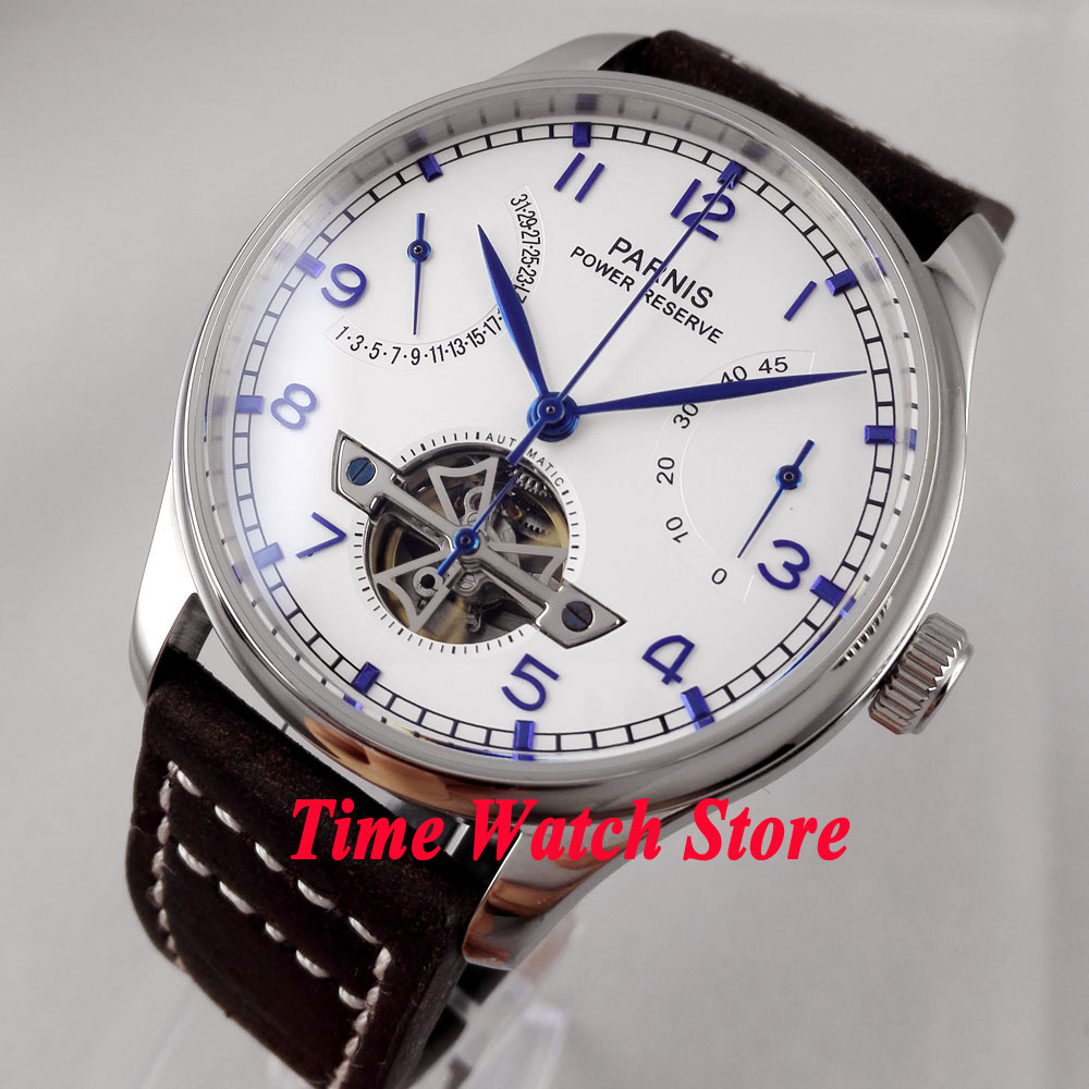 все цены на Parnis 43mm White dial blue marks date power reserve Automatic movement Self-Winding Men's watch 13 relogio masculino онлайн