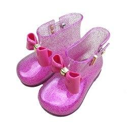 Melisa Rain Mini Boot doble capa arco 2019 nuevo verano PVC niños zapatos mantener las botas de agua más cálidas