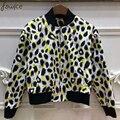 2016 Estilo Europeu New Outono Mulheres da Cópia do Leopardo Jacket Completo Manga Zíper Solto Rua Feminino Casaco Casacos Soltos