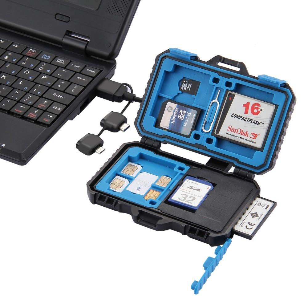 Kartenleser + 22 in 1 Wasserdichte Speicher/Sd-karte Fall Aufbewahrungsbox für 1 Standard SIM + 2Micro-SIM + 2Nano-SIM + 7SD-KARTE + 6TF + 1 KARTE PIN