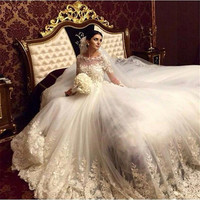 Princess Wedding Dresses 2019 Bridal Dress Bride Gown Sheer Neck Long Sleeves Applique luxcury Wedding Gown Custom Made