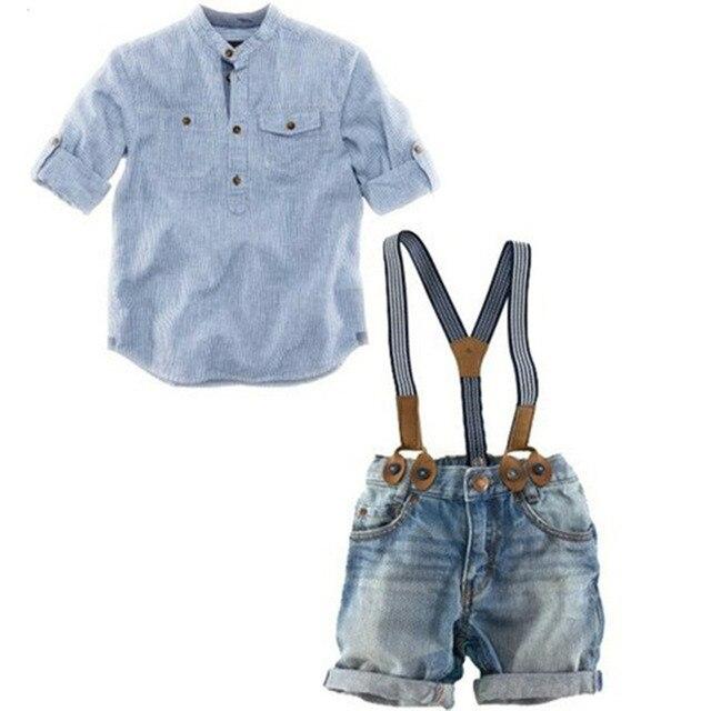 2017 новые дети мода одежда наборы мальчики рубашки + джинсовые комбинезоны красивые 2 шт. мальчик наборы фирменных дети носит свободную перевозку доставка