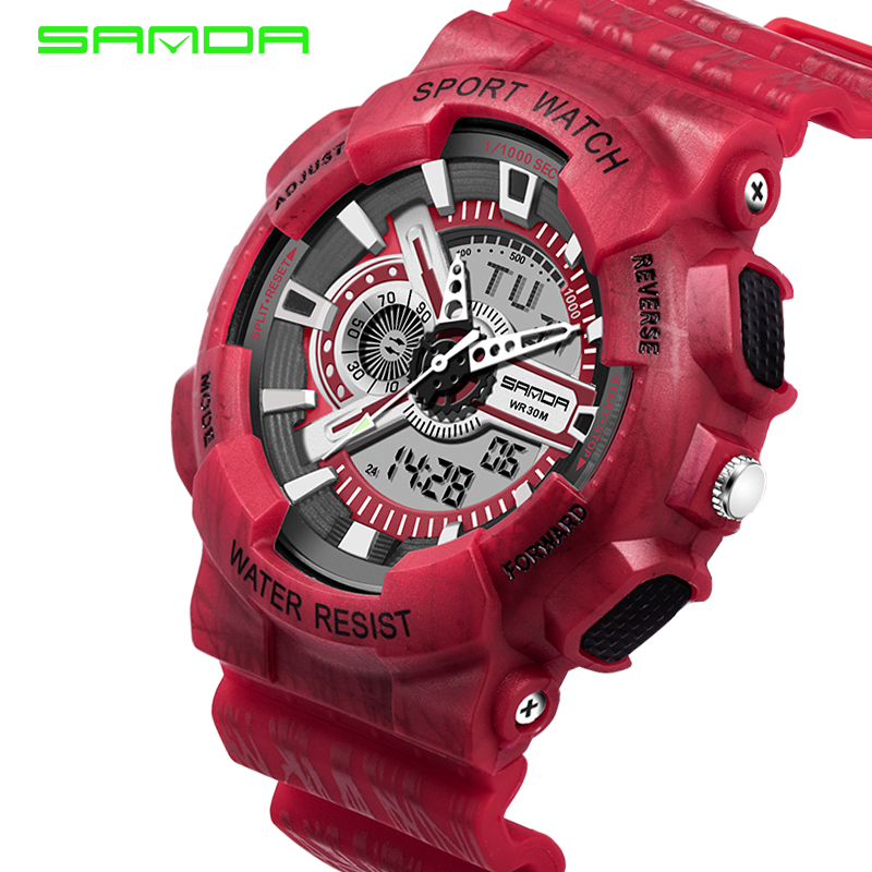 SANDA Luxury Brand Mens Sports Watches waterproof Digital LED Military Watch Men fashion casual military Wristwatches