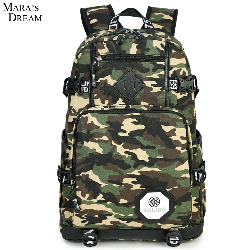 Mara's Dream Backpack Men Canvas Large Capacity Double Zipper Travel Mutilfunction Fashion Camo School Backpacks for Teenagers