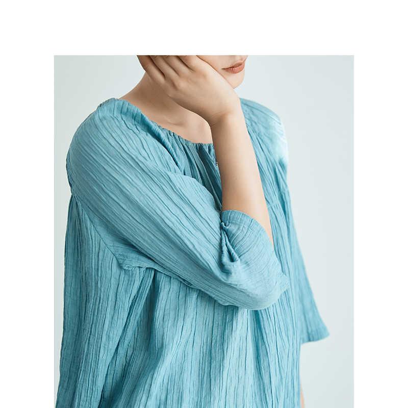 אינמן 2019 סתיו חדש הגעה ברור רמי פשתן O-צוואר ספרותי צעיר כל בהתאמה שלוש רובע שרוול נשים חולצה