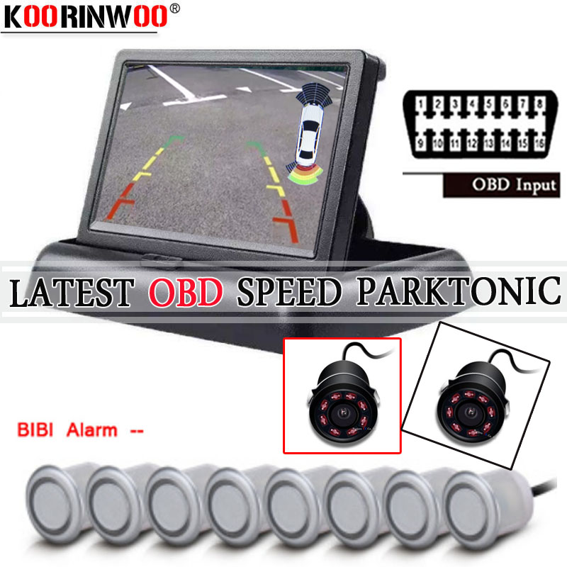 Koorinwoo 2019 Intelligent Parktronic OBD Speed 4 Front Video Car Parking Sensor 8 Radars Reverse Alert