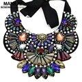 De lujo del Diseño Hecho A Mano Multicolor Collar de Cristal de Las Mujeres 2016 Nuevo Collar de Gran Declaración Gargantilla Collares Bijoux femme