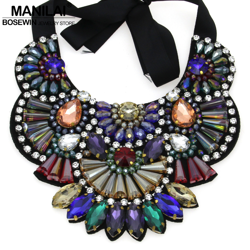 MANILAI Luxury Design Handmade Multicolor Crystal Necklace Women Collar Big Choker Statement Necklaces & Pendants Bijoux femme все цены