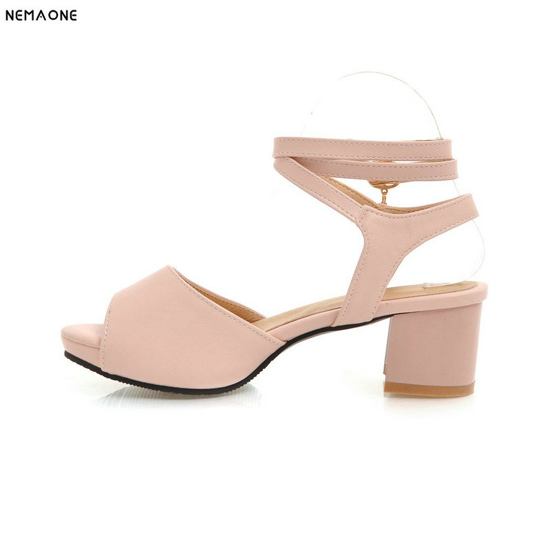 New ankle strap ladies shoes 5cm square heel Sandals women Open toe Casual Summer shoes large size 9 10 11 12 miquinha summer fashion casual shoes women sandalia feminina open round toe buckle strap square heel shoes sexy ladies sandals