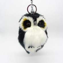 Cute Fluffy Owl Fur Pom Pom Key Chains Ring Woman Fuax Rabbit Fur Owl Bag Charms Keychain Man Car Keyring Jewelry Trinkets Gift