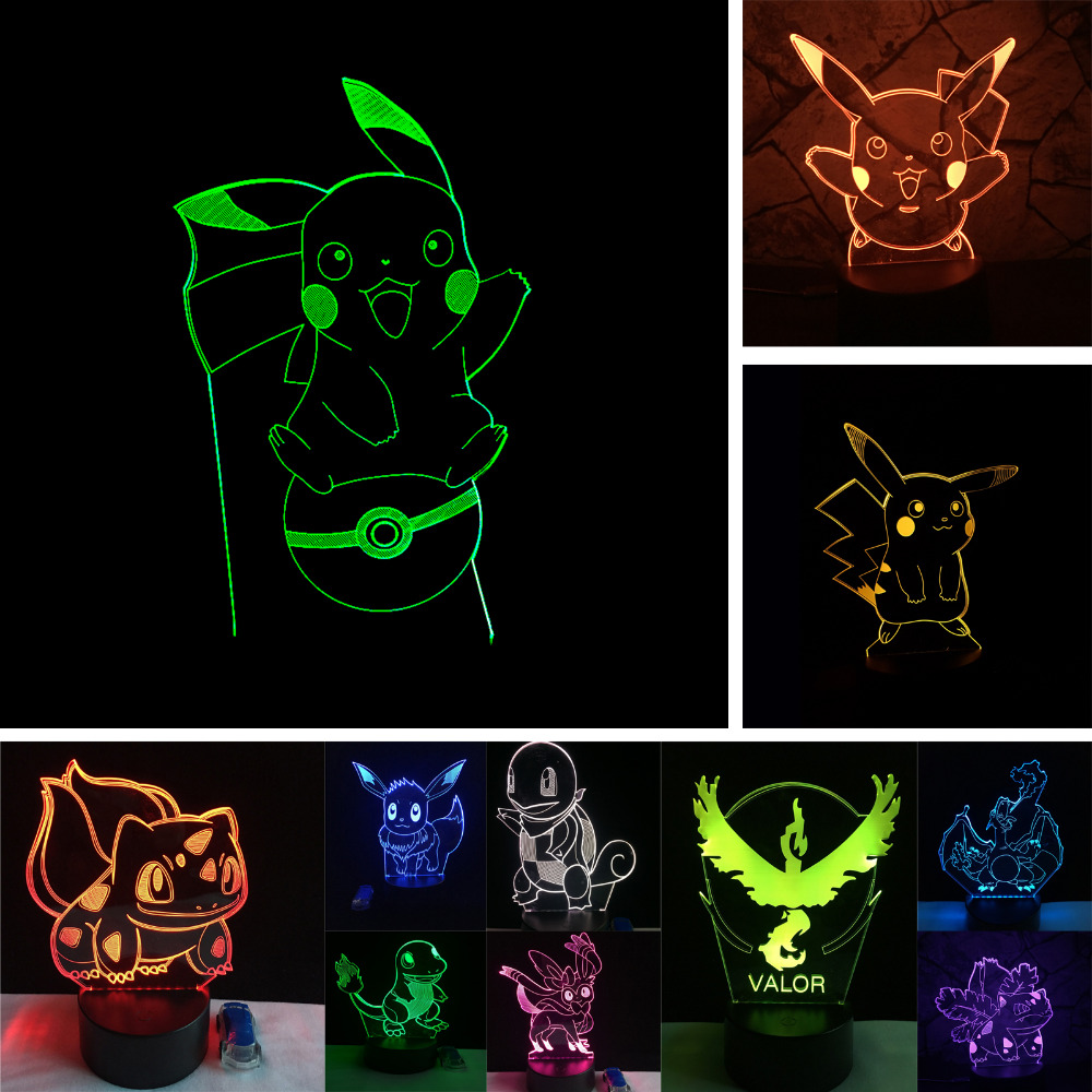 Pikachu Pokeball Bulbasaur Bay Role 3D RGB Lamp Pokemon Go Action Figure visual illusion LED Holiday Christmas Gifts Night Light 3d visual bulb optical illusion colorful led table lamp touch romantic holiday night light love heart wedding gifts