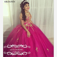 Hot Pink Sweet 16 Quinceanera Dresses For Girls 2019 Appliques Beads Long Puffy Ball Gown Corset Back Pageant Prom Dress Gowns