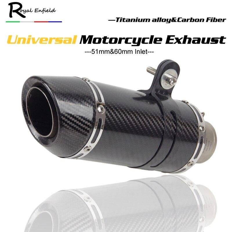 Универсальный мотоцикл выхлопной трубы Slip on Настоящее углеродного волокна Титан сплав глушитель для HONDA R1 R3 R6 FZ6 ATV байк выхлопной