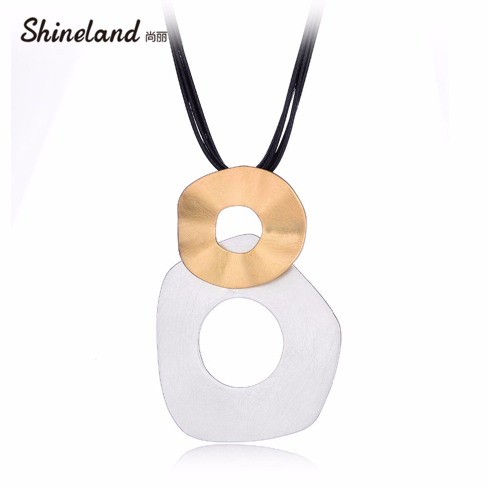 Shineland Multilayer Black PU Leather Double Irregular Round Hollow Drawing Necklace Pendants For Women Men Maxi Punk Jewelry