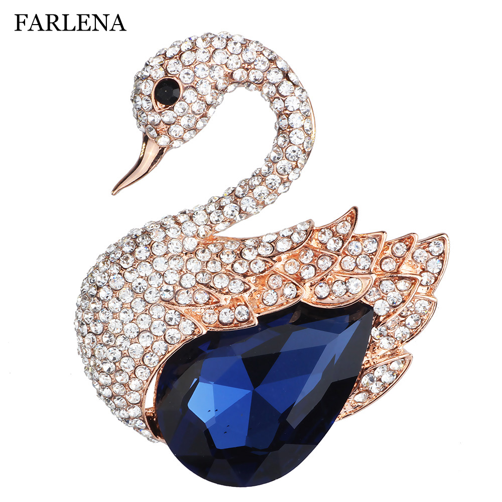 Fashion Jewelry Elegant Swan Brooch Pins with Clear Crystal Charm Rhinestones Brooch for Women Dress accessory