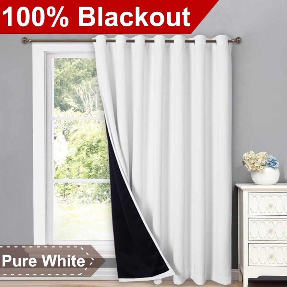 100% Polyester Blackout Eyelet Window Curtain Fashion Full Light Blocking Drapes with Black Liner for Livingroom Decor, 1 PC