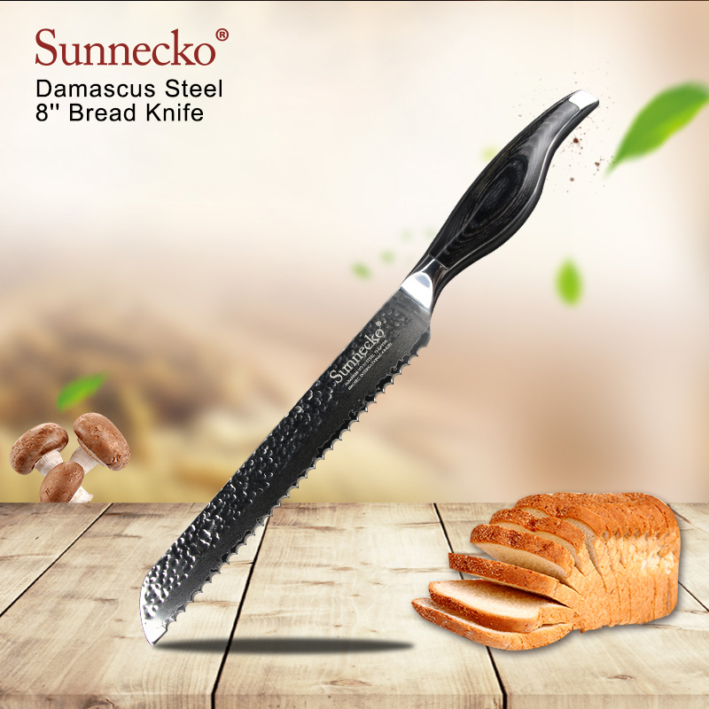 SUNNECKO 8 Bread Knife Damascus Steel Shsrp Blade kitchen knives High Quality Japanese Cake Knife Pakka