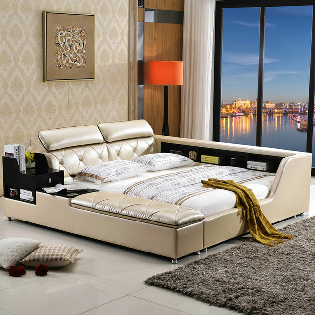 Big Capacity Storage Contemporary Genuine Leather Bed Modern