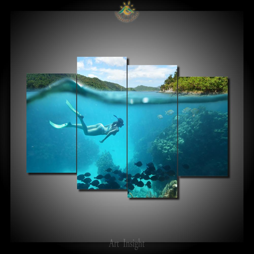 Snorkel Paradise 4 Piece Canvas Wall Art Paintings Picture ...