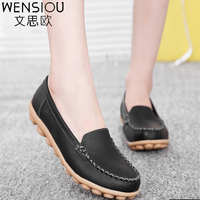 Women Flats 2016 Genuine Leather Mother Shoes Casual Women Driving Shoes Flat Shoes Women Moccasins Ballet