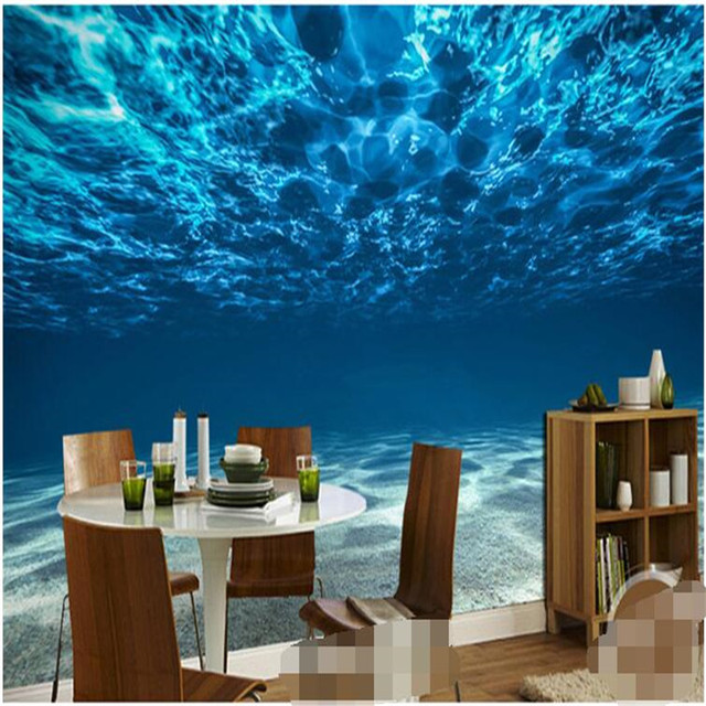 Charming Deep Sea Custom Photo Wallpaper Ocean Scenery Large Mural Bedroom Kids Room Background For
