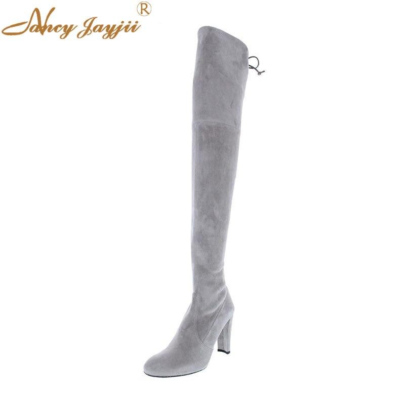Solide Damen Hohe Quadratische Frauen Lace Stiefel Heels Ty02 Schuhe Erwachsene Reife Nancyjayjii Super Flock Winter Über die knie up 2019 Freizeit qFZ4tF