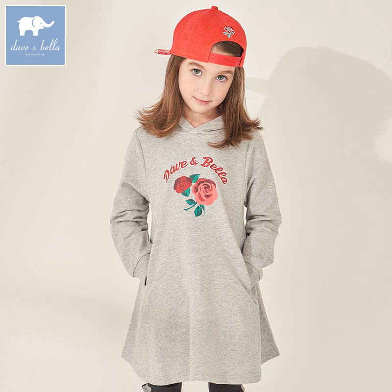 DBK8125 dave bella kids girls 5Y-11Y fashion hooded dresses children autumn boutique 1 pc dress baby long sleeve clothing цена 2017