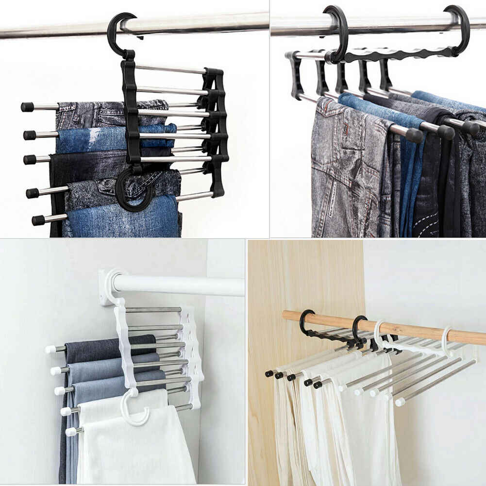 2019 Newest Fashion 5 in 1 Pant rack shelves  Stainless Steel Clothes Hangers  Multi-functional Wardrobe Hot Sale Magic Hanger
