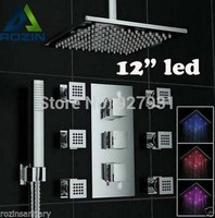 Thermostatic Mixer Valve Color Changing LED Concealed Install Rainfall Shower Faucet With Handheld 6pcs Sprayer Massage