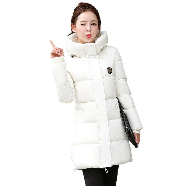 Woman Winter Jacket Coat 2017 Fashion Cotton Padded Jacket Long Style Hood Slim Parkas Plus Size Thicken Female Outerwear