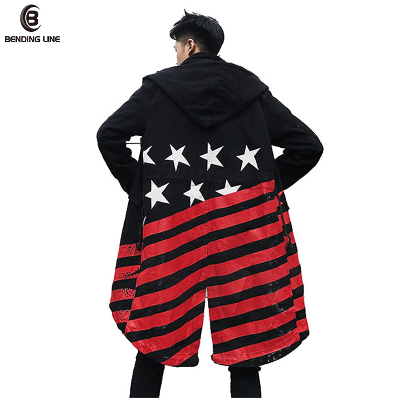 Flexion ligne Automne Chaud D'hiver Vestes Coupe-Vent Manteau 2018 Mode Hommes Rayures drapeau Chapeaux Sweat À Capuche Veste Manteau US Taille
