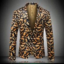 US Designer Item Mens Gold Blazers Shawl Lapel Floral Sequins Royal Blue Slim Fit Blazer Stage Singer Wedding Suit Jacket k9010 floral printed lapel mens casual blazer
