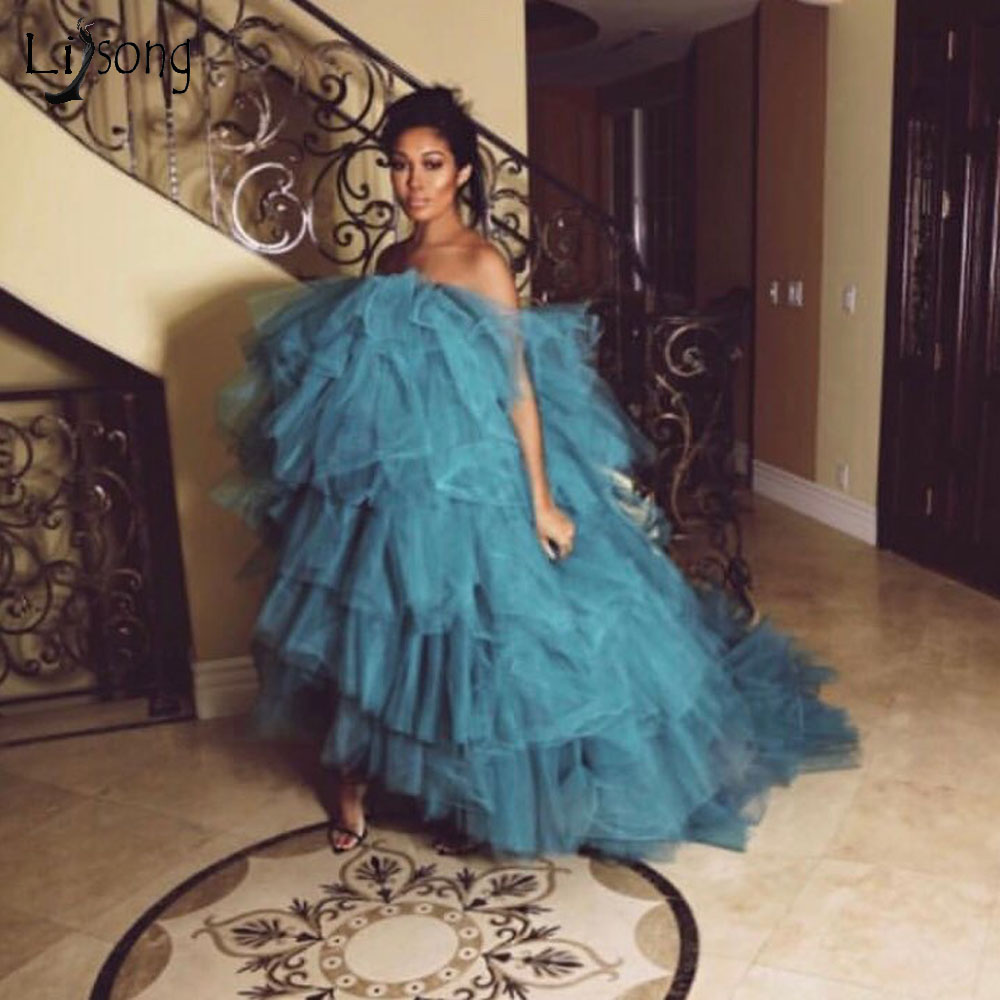 Fashion Blue Tiered Long Tulle   Prom     Dresses   Off The Shoulder Plus Size Ruffles Formal Party   Dresses   Evening Gowns Vestidos Longo