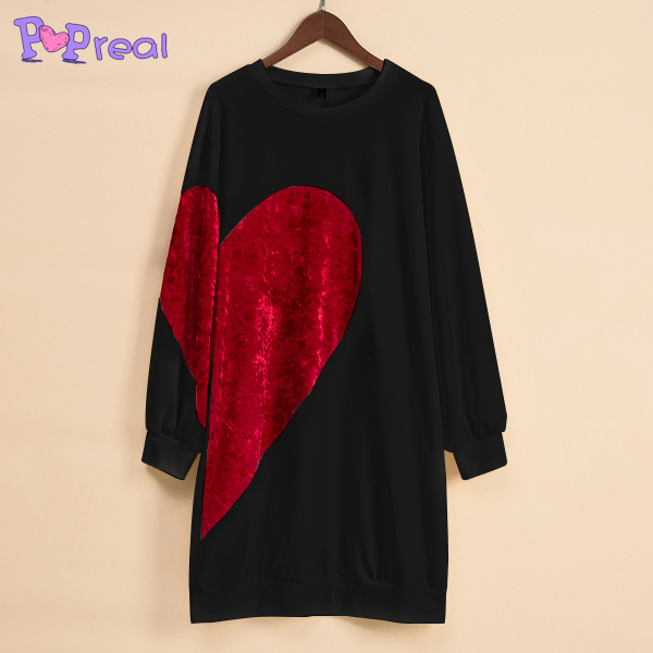 PopReal Mom Girl Velvet Big Red Heart Pattern Matching Dress Newest Mommy And Me Clothes Matching Outfits Girls Dress T shirt